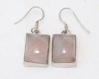 Sterling silver 925 not plated natural earth earth mined pink rose quartz cabochon chandelier earrings bezel setting sheer bouse accent
