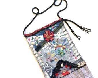 Fringed Bag,Artsy Crossbody Bag, Handmade Bag, Wearable Art Bag Crossbody Bag Festival Bag Black and Red Color Theme