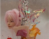 Safi Sweet Treats OOAK Fairy Fairies Art Doll Sculpture Polymer Clay Figure Pink Fantasy, Gift, Polymer Clay , One of a Kind,Fairy Wings