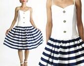 1980s Party Dress Crinoline Full Skirt 80s Nautical Striped Dress Satin Party Skirt Dress Retro Prom Dress Floral White Cotton Dress (XS)