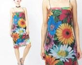 1990s Floral MESH Dress Sheer Grunge Dress Photo Print Daisy Rave Club Kid Dress Colorful Vaporwave Spaghetti Straps Knee Length Dress (M)