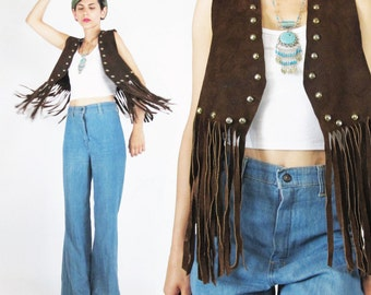 Vintage 1960s Leather FRINGE Vest Hippie Boho Biker Rocker Leather Studded Vest Brown Suede Leather Vest Tassels Long Fringe Top (S)