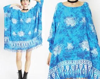 Under The Sea Caftan Dress Turquoise Tie Dye Kaftan Fish Print Hippie Boho Beach Dress Slouchy Muu Muu Boho Draped Tassel Hem Dress (L/XL)