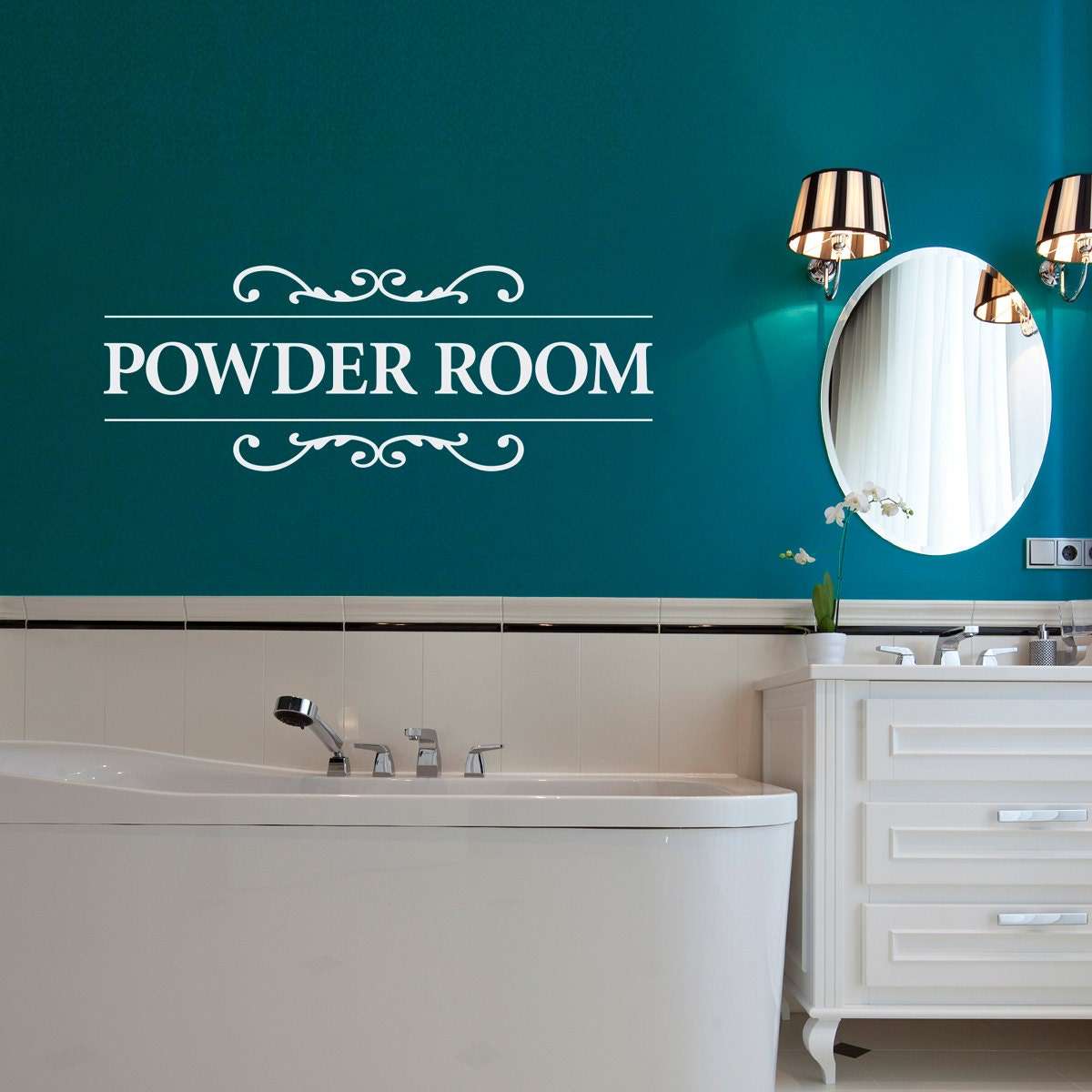 Powder Room Decal Bathroom Wall Decor Restroom Wall Decal Powderroom