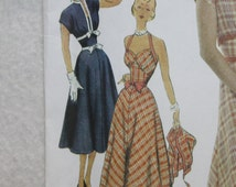 Sz R5  (14-16-18-20-22) 50s Vintage Repro Simplicity Sewing Pattern 3780 Halter Dress  with Full Skirt and Jacket