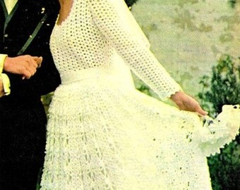 Crochet Pattern BRIDESMAID and  Bride's WEDDING DRESS 1970s Retro Boho Bridal Gown