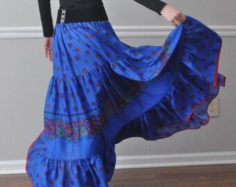 Royal Blue Tiered Ruffle Cotton Long Skirt, Gypsy Skirt, Bohemian skirt, Super Twirly, Plus Size, S M L XL XXL XXXL