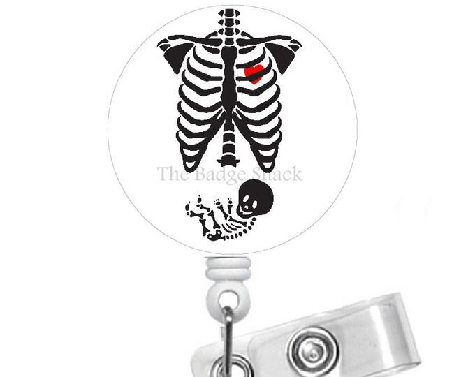 Pregnant Rib Cage Badge Holder - Maternity Badge Reel - Humorous Badge Reel - Nursing Badge - Pregnancy Badge Reel - Gift for Her