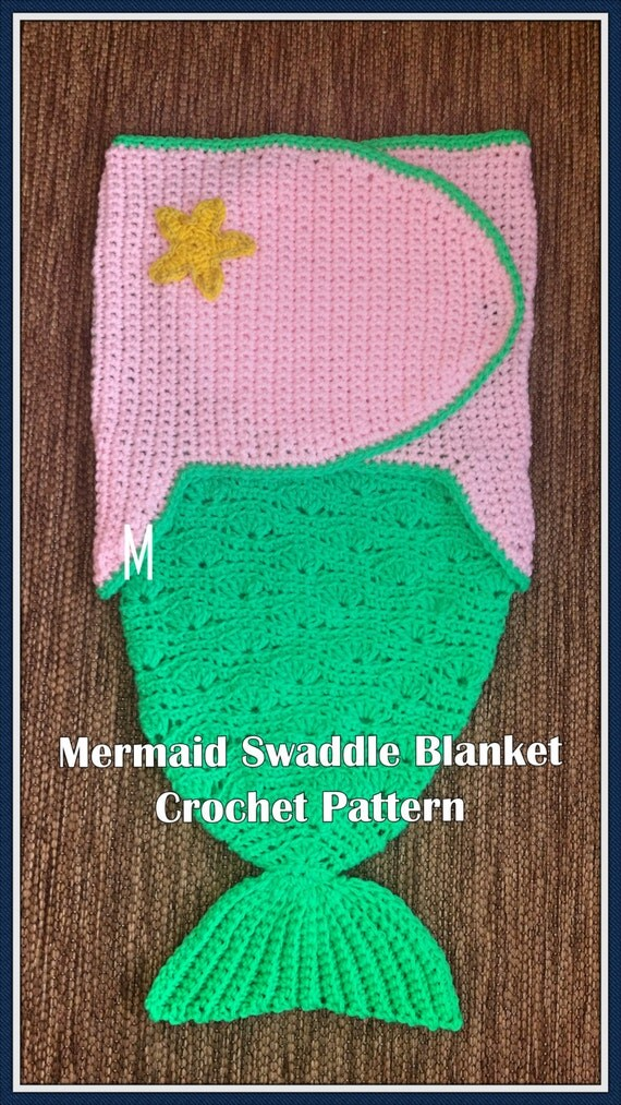 Crochet Pattern For Swaddle Blanket : Mermaid Swaddle Blanket Crochet Pattern PDF-INSTANT DOWNLOAD