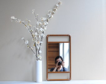 Vintage Mirror or Tray - Wood and Copper
