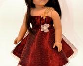 "Garnet Red Holiday Dress - ORIGINAL by Dollhouse Designs for 18"" Dolls"