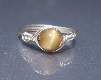 Honey Tigers Eye Argentium Sterling Silver Wire Wrapped Ring