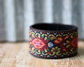CUSTOM HANDSTAMPED CUFF - bracelet - personalized by Farmgirl Paints - black leather cuff with colorful stitched overlay