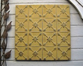 Antique Tin Ceiling Tile. FRAMED 2'x2'. Oklahoma architectural salvage. Metal wall art. Magnet board. Gold Yellow Tile.