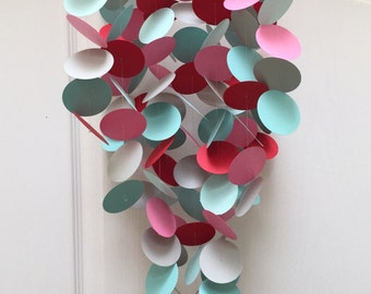 Turquoise, red, pink and white Baby Mobile, Paper Mobile, Modern Baby Mobile, Crib mobile, Nursery Decor, Baby Gifts, Mobiles
