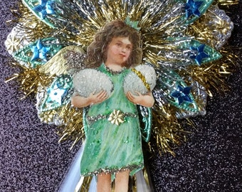 Vintage Look Easter Girl Ornament-Vintage 1900's German Postcard Girl W/Eggs,German Dresdens, German Tinsel, Spun Glass Tail