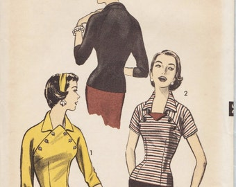 Advance 7798 / Vintage 50s Sewing Pattern / Blouse Overblouse / Size 14 Bust 32