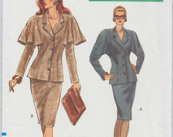 Very Easy Vogue 7650 / Vintage Sewing Pattern / Jacket Capelet Skirt Suit / Sizes 12 14 16