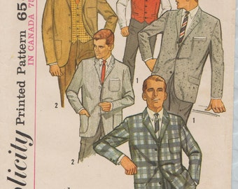 Simplicity 5697 / Vintage 60s Mens Sewing Pattern / Ivy league Jacket And Vest / Chest 38