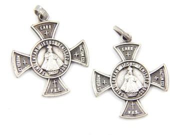 Vintage Dutch Infant Jesus of Prague Catholic Medal Lot - Religious Charm - Jesus Christ Safeguard Cross - S100