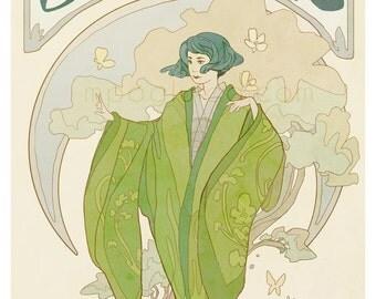Jasmine - tea lover's poster - art nouveau illustration