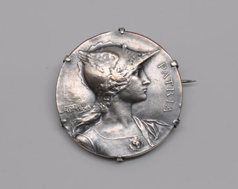 Antique French Art Medal Brooch Pin Silver Plated Bronze Patriot
