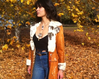 1970s Vintage Leather Jacket With Fur Trim... 70s Brown Leather... BABE in the WOODS