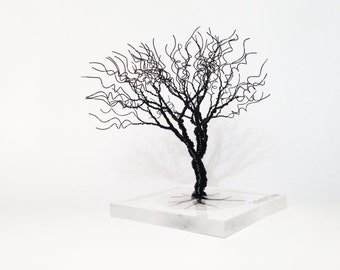 black minimal art wire tree statue - creepy spooky miniature home decoration - black Halloween decor - minimalistic wire tree of life