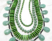 Chunky Statement Necklace [Chunky Multi Strand Aventurine Green Crystal Statement Collar] MAXED OUT