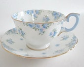 Cup and Saucer Tea Cup Forget Me Nots Periwiinkle Blue Gold Gilt