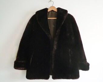 Mouton Fur Coat 1940s Fur Jacket Rockabilly Swing Car Coat Satin Lining, SALE