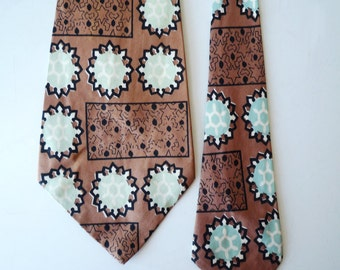 VINTAGE SWING 51L Mens Silk Neck Tie Copper Pale Green Black, SALE