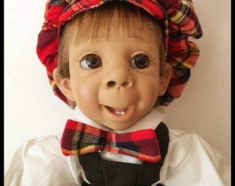D'Anton Jos Doll, Made in Spain, Stamped, Hang Tag, Boy, Plaid Hat, Vintage 1994