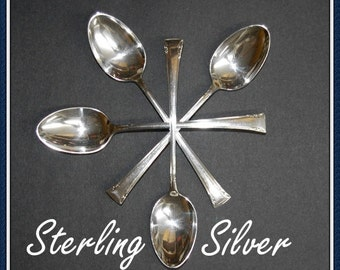 Sterling Silver Tea Spoons, By International, Serenity Pattern, Set of 4 Vintage 1940s