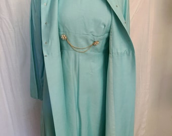 Vintage Early 1960s Robins Egg Blue Blue Dress & Coat Set by Emma Domb