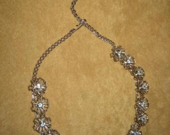 Choker Necklace Rhinestone Floral Silver Tone Vintage
