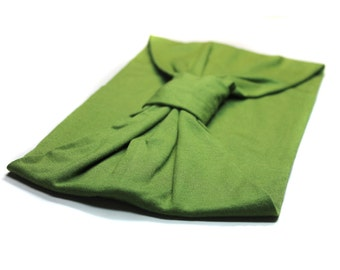 Turban Headscarf Green Yoga Head Cover Wide Headscarves Jersey Knit Turban Soft Headcovering Solid Turban Green Turband Headband (#1504) M