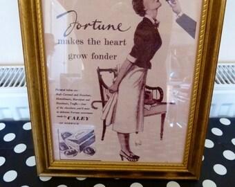 Handmade, Original Fortune Makes The Heart Grow Fonder', Reproduction Vintage Advert in a Gilt/Gold Tone Frame, Retro Art, Retro Decor