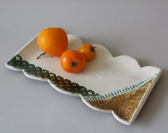 Ceramic Serving Tray, Rustic Serving Tray, Serving Platter, Appetizer Tray, Housewarming Gift, Wedding Gift, Scalloped Tray