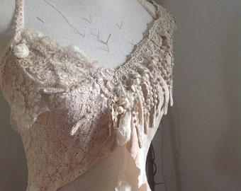 Magic mushroom fae raw silk and vintage lace top dyed with natural dyes