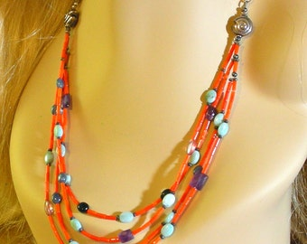 Coral Multi Stand necklace