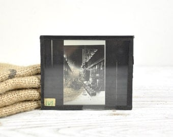 Antique Glass Photo Slide, Photo Negative, Industrial Decor