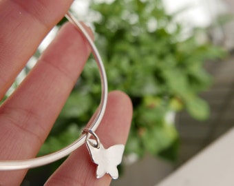 MADE TO ORDER - Butterfly minimalist Sterling silver bangle bracelet