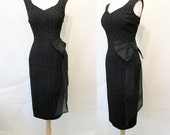 "Chic 1950's Designer ""Little Black"" Cocktail Party Dress by ""Sue Leslie of California"" Rockabilly Pinup Vixen Hourglass Size-Small"