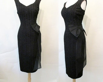 """Sophisticated 1950's Designer """"Little Black"""" Cocktail Party Dress by """"Sue Leslie of California"""" Rockabilly Pinup Vixen Hourglass Size-Small"""