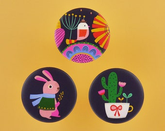 """Look at The Beautiful World Around You - 1.75"""" or 3"""" Button Badges or Magnets - Love Birthday Friendship Party Pin Bdage - Happy Pinning"""