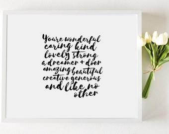 Affirmation Framed Art Print (Large) ~ Inspirational Black & White Typographic Design ~ Motivational + unique gift for girls, teens, women