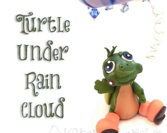 Polymer Clay Turtle Under Rain Cloud with Galoshes Tutorial - Also for Fondant, Sugar Paste, & More