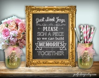 Guest Book Wedding Sign Chalkboard Printable 8x10 PDF DIY Instant Download Printable Rustic Shabby Chic Wedding Seating Sign A Piece