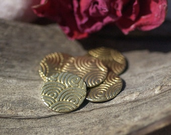 Disc Blank 12mm Brass 24g Spiral Water Pattern Polished Textured Blanks Shape - 8 pieces